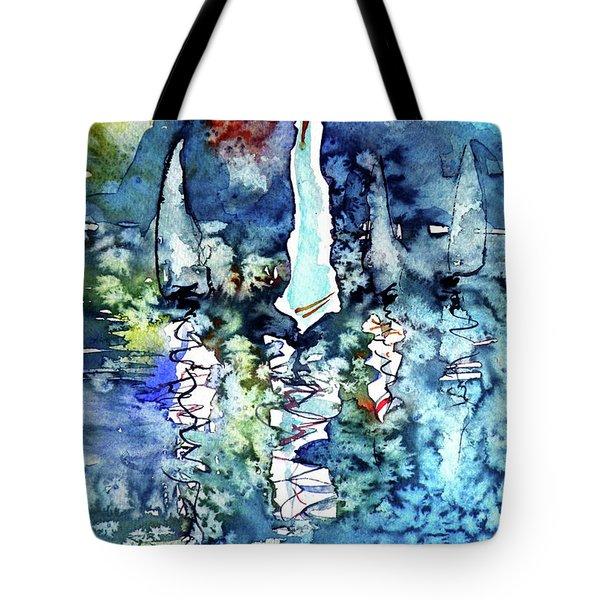 White Sailboats At Sunset Tote Bag by Kovacs Anna Brigitta