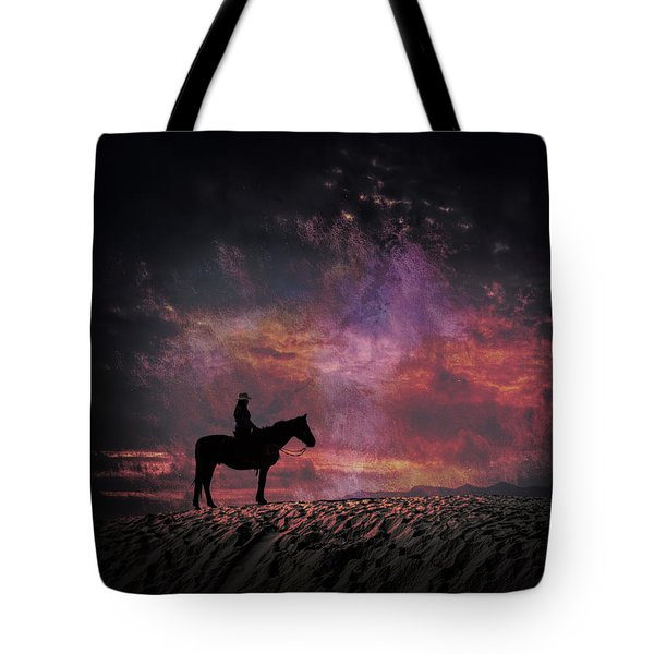 White Sands Horse And Rider #4c Tote Bag