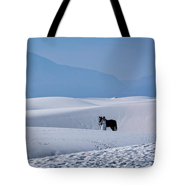 White Sands Horse And Rider #5b Tote Bag