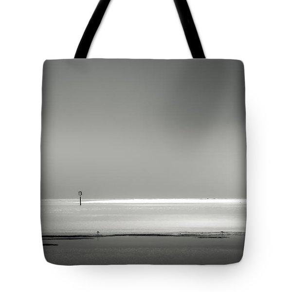 White Sandy Shore- B/w Tote Bag