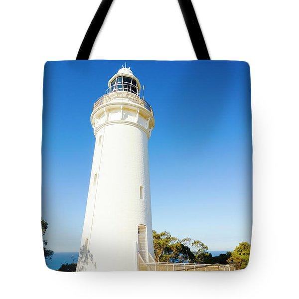 White Seaside Tower Tote Bag