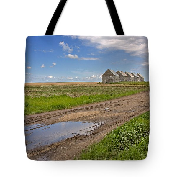 White Sheds On A Prairie Farm In Spring Tote Bag by Louise Heusinkveld