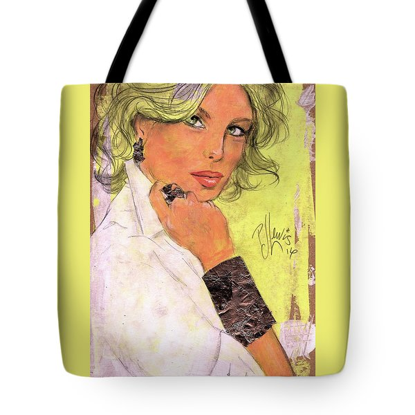 Tote Bag featuring the painting White Silver by P J Lewis