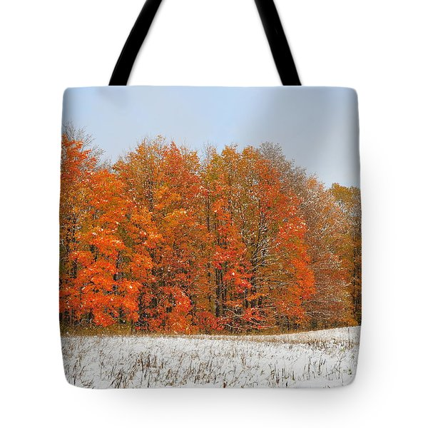 White Snow In Autumn Tote Bag