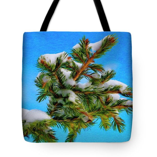 White Snow On Evergreen Tote Bag by Jeff Kolker