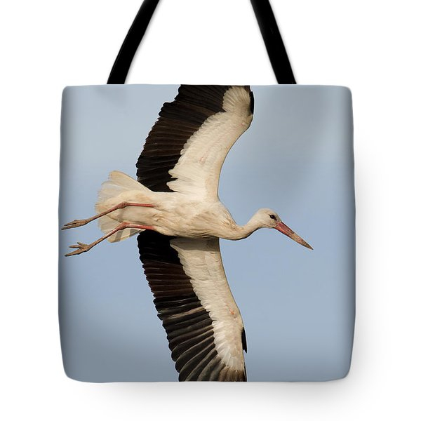 White Stork Ciconia Ciconia Flying Tote Bag