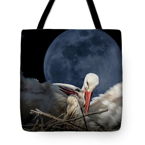 White Storks Of Fagagna With Full Moon Tote Bag