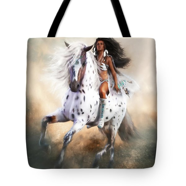 Tote Bag featuring the digital art White Storm by Shanina Conway