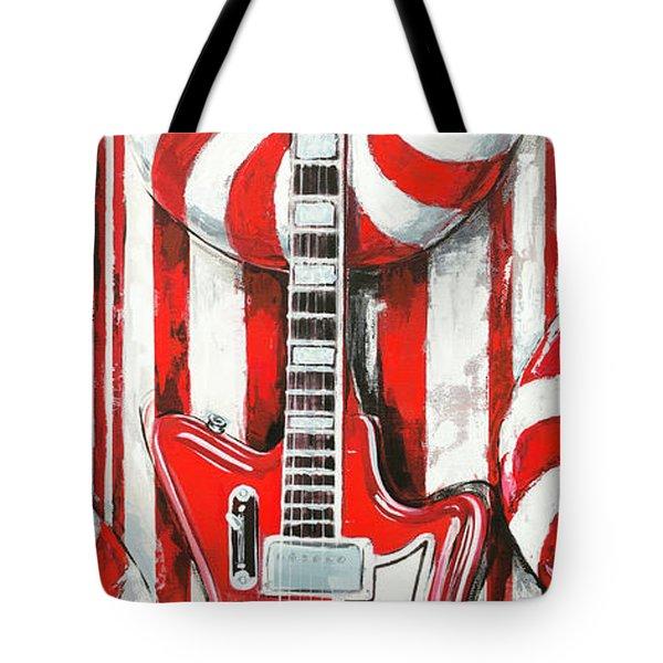 White Stripes Guitar Tote Bag