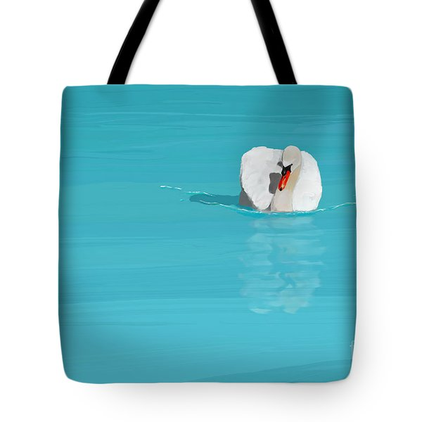 White Swan Blue Lake Tote Bag