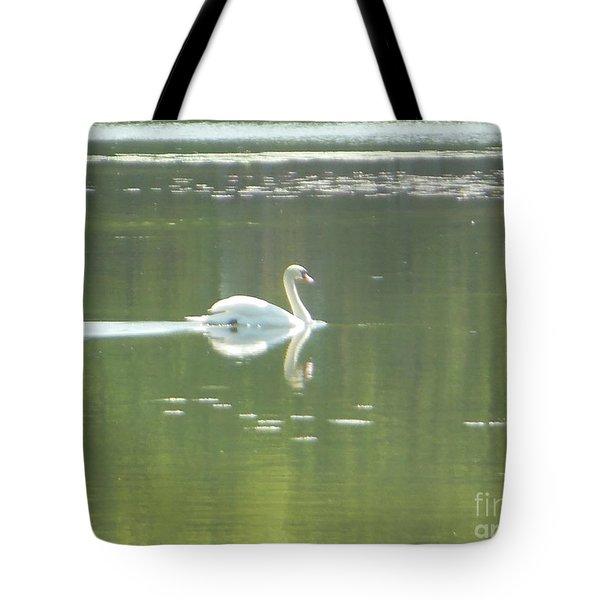 White Swan Silhouette Tote Bag