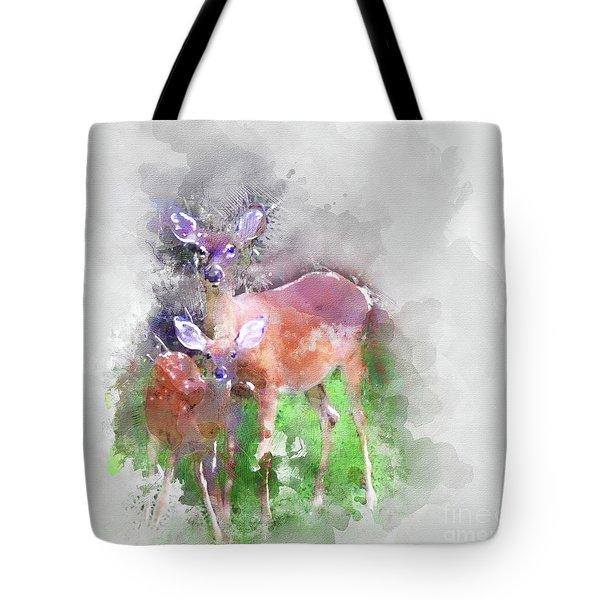 White Tail Deer In Watercolor Tote Bag