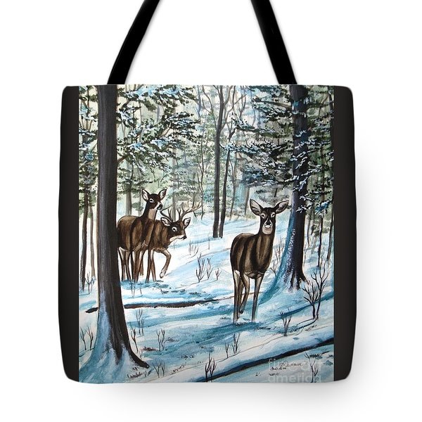 Tote Bag featuring the painting White Tail Deer In Winter by Patricia L Davidson