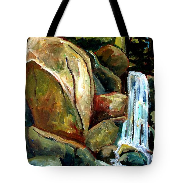 Tote Bag featuring the painting White Tail Falls by Charlie Spear