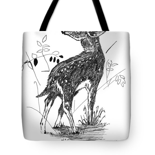 White-tail Fawn -pen And Ink Tote Bag by Doug Kreuger