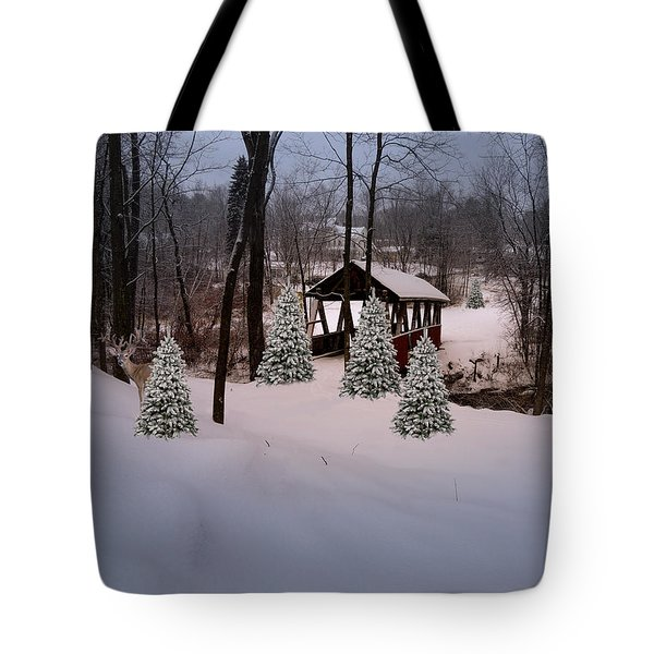 White Tailed Buck At Belmont N H Covered Bridge Tote Bag by Mim White