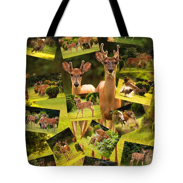 Tote Bag featuring the photograph White-tailed Collage by Angel Cher