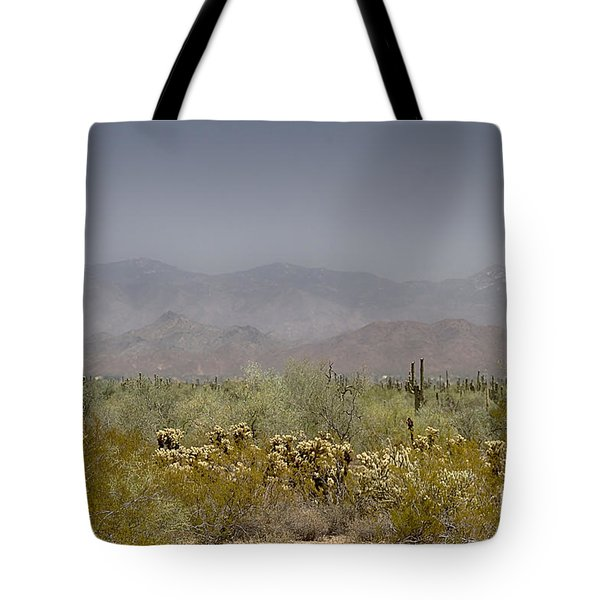 Tote Bag featuring the photograph White Tank Mountain Majesty by Anne Rodkin