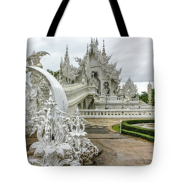 Tote Bag featuring the photograph White Temple Thailand by Benny Marty