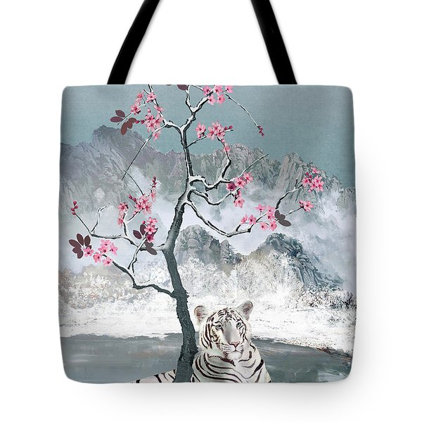 White Tiger And Plum Tree Tote Bag
