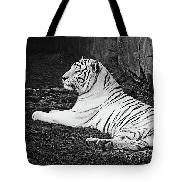 Tote Bag featuring the photograph White Tiger Black-white by Terri Mills