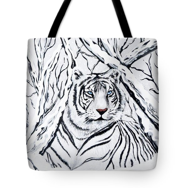 Tote Bag featuring the painting White Tiger Blending In by Teresa Wing