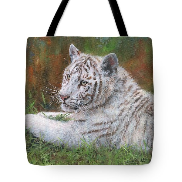 Tote Bag featuring the painting White Tiger Cub 2 by David Stribbling