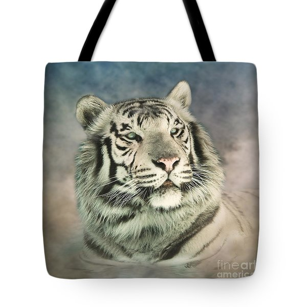 White Tiger Digitally Painted Photograph Tote Bag by Clare VanderVeen