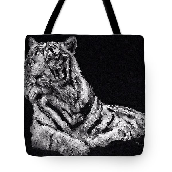 Tote Bag featuring the painting White Tiger by Mark Taylor
