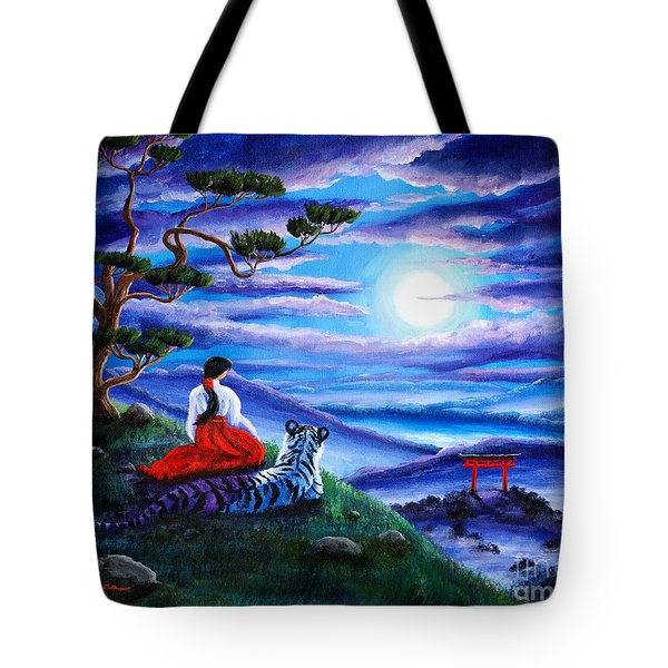 White Tiger Meditation Tote Bag