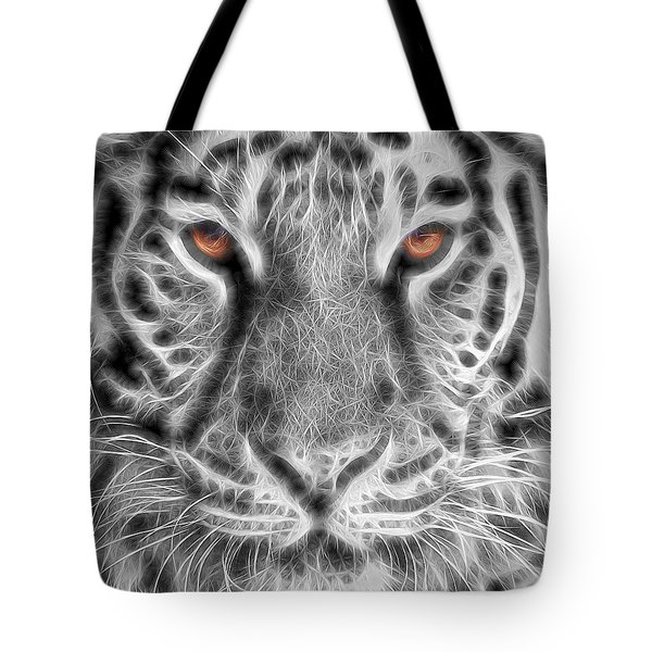 White Tiger Tote Bag by Tom Mc Nemar