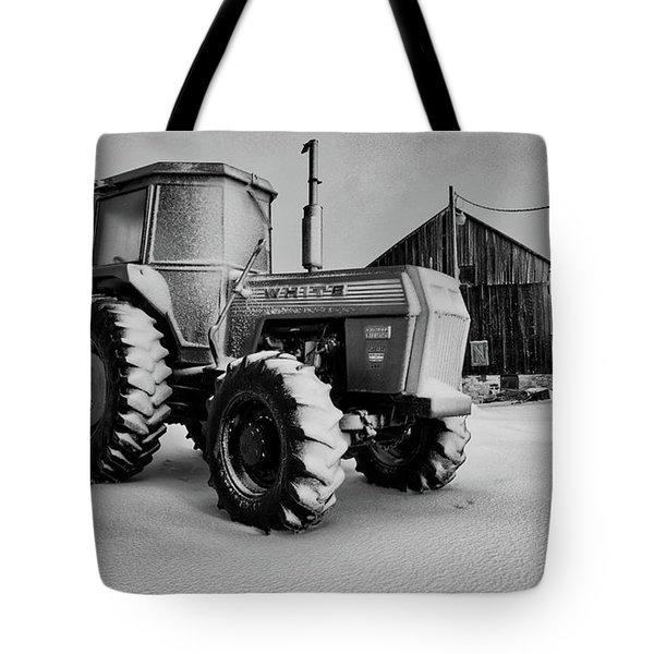 White Tractor Tote Bag