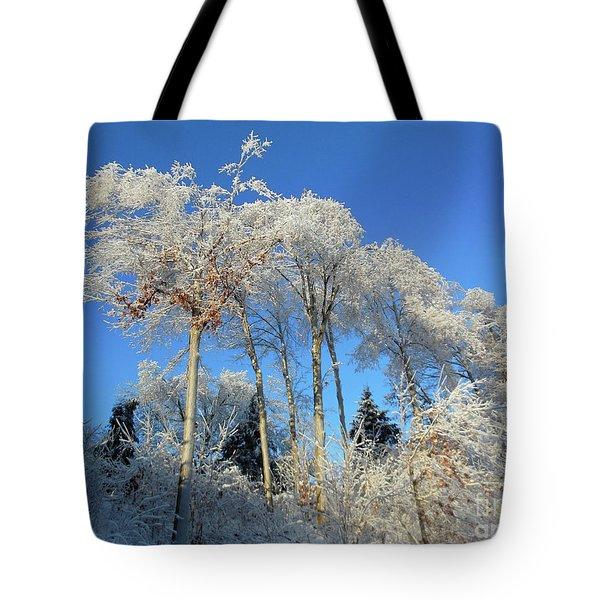 White Trees Clear Skies Tote Bag
