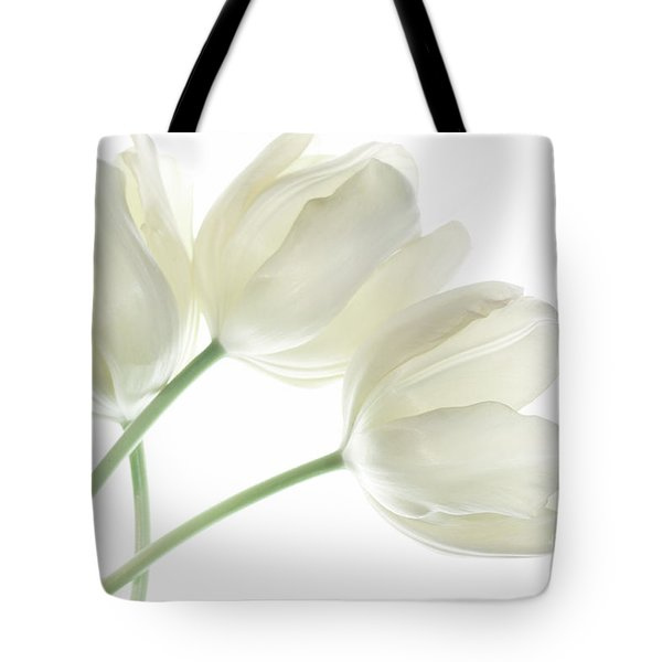 White Tulip Flowers Tote Bag by Charline Xia