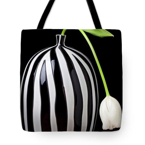White Tulip In Striped Vase Tote Bag