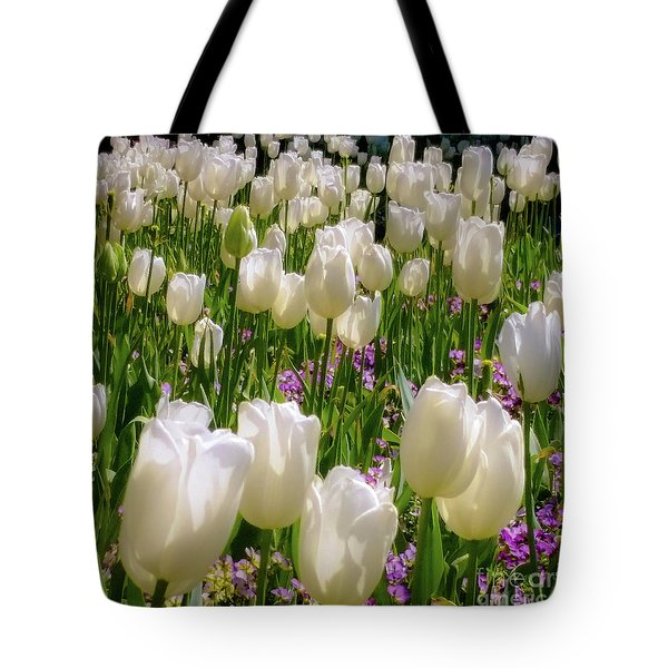 White Tulips In Bloom Tote Bag