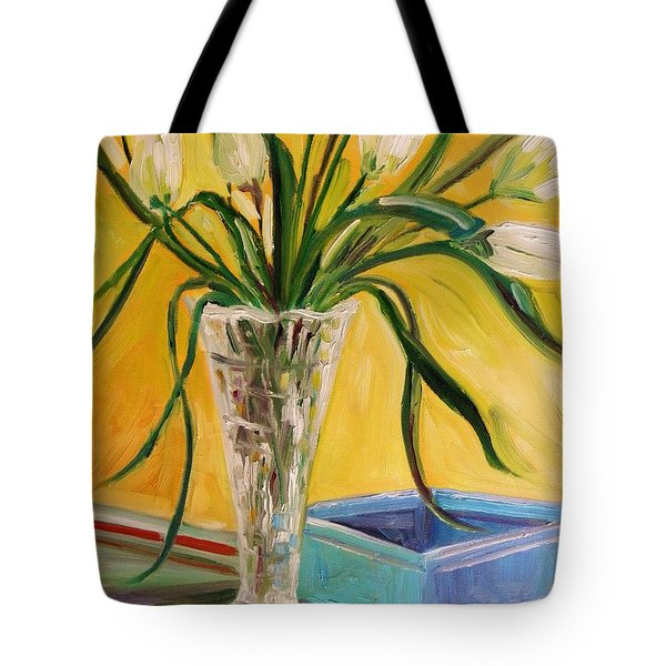 White Tulips In Cut Glass Tote Bag