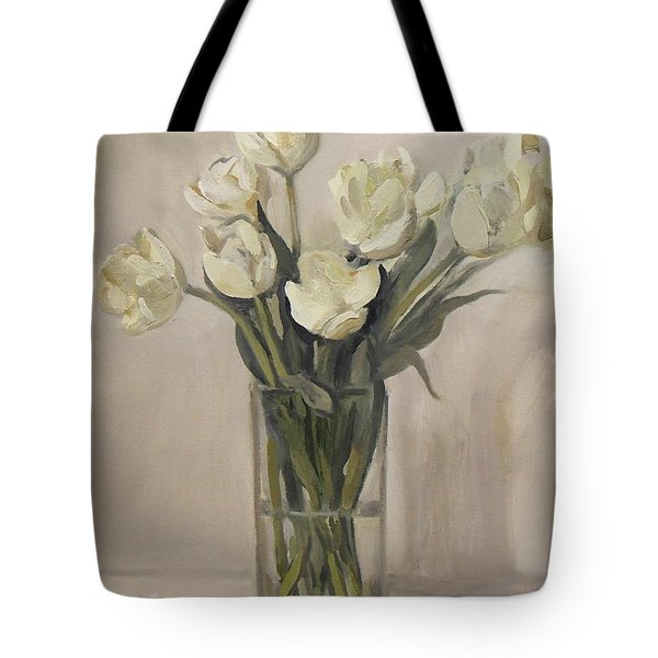 White Tulips In Rectangular Glass Vase Tote Bag