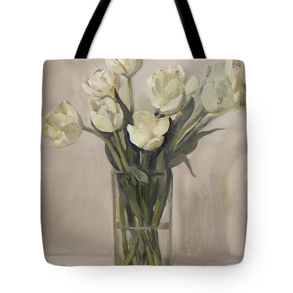 White Tulips In Rectangular Glass Vase Tote Bag