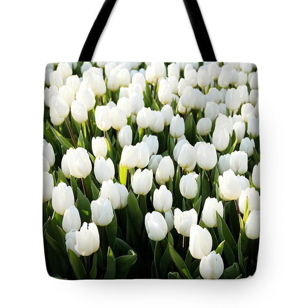 White Tulips In The Garden Tote Bag