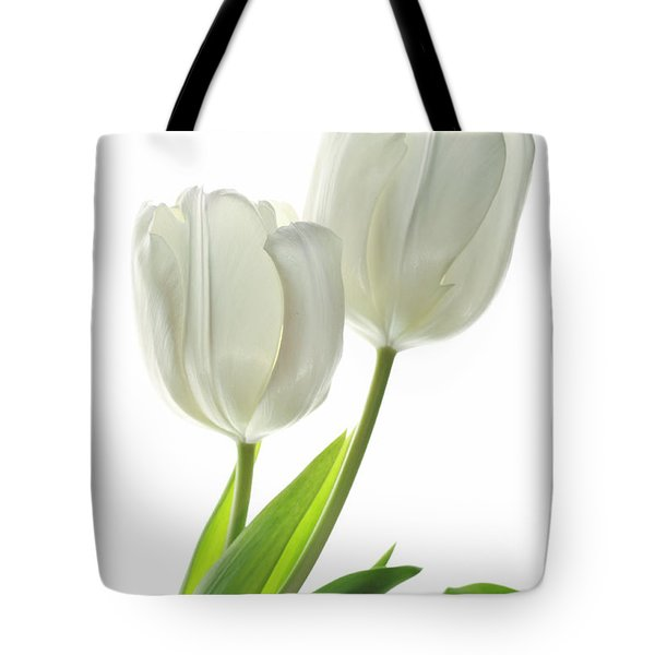 White Tulips With Leaf Tote Bag by Charline Xia