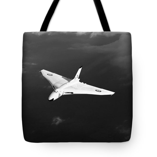 Tote Bag featuring the digital art White Vulcan B1 At Altitude Black And White Version by Gary Eason