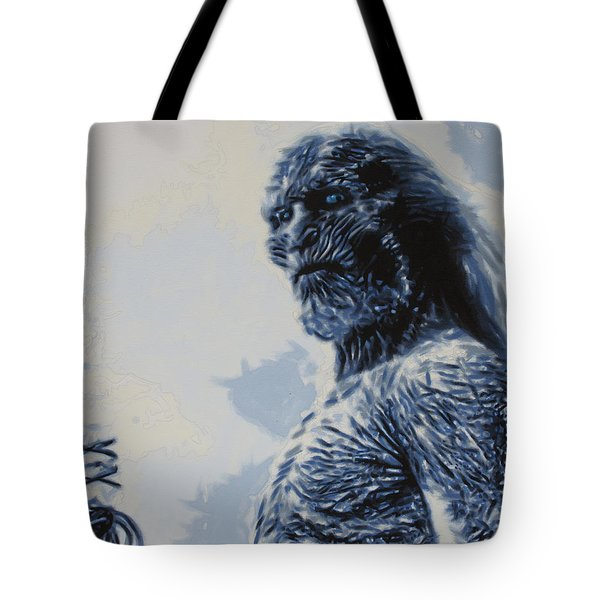 Tote Bag featuring the painting White Walker by Luis Ludzska