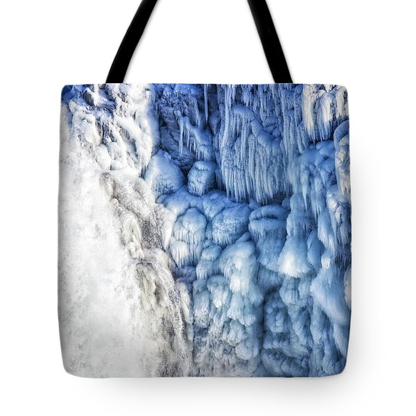 Tote Bag featuring the photograph White Water And Blue Ice Gullfoss Waterfall Iceland by Matthias Hauser