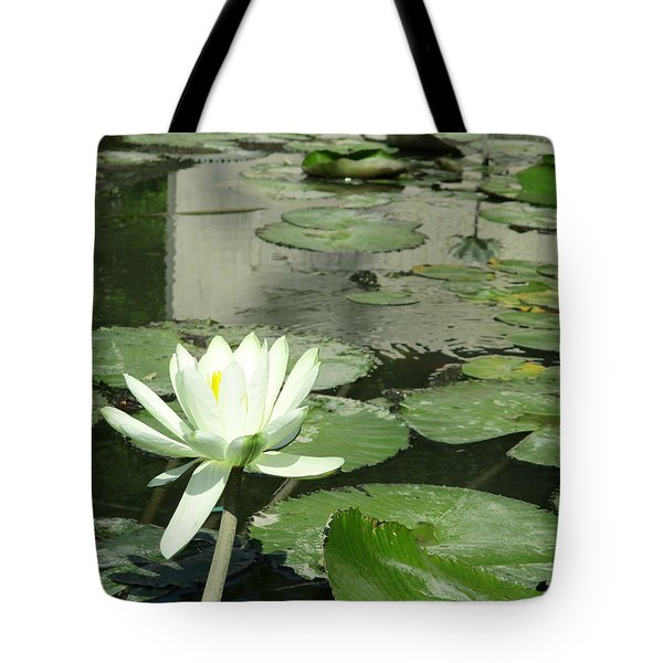Tote Bag featuring the photograph White Water Lily 3 by Randall Weidner