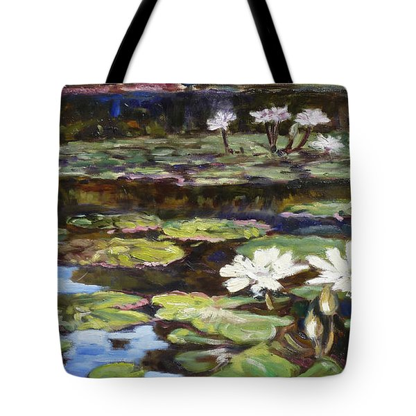 White Waterlilies In Tower Grove Park Tote Bag by Irek Szelag