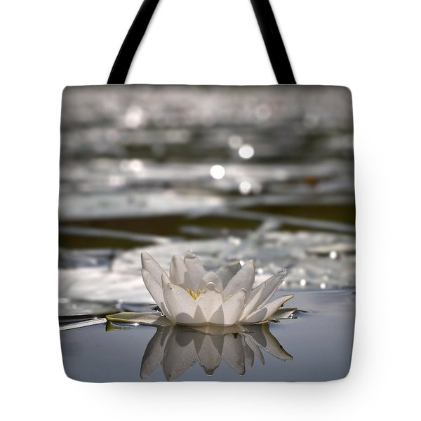Tote Bag featuring the photograph White Waterlily 3 by Jouko Lehto
