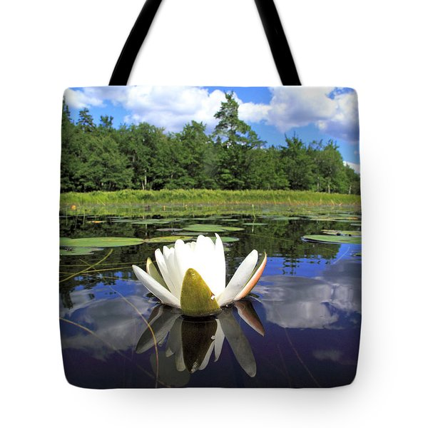 White Waterlily On A Lake Tote Bag
