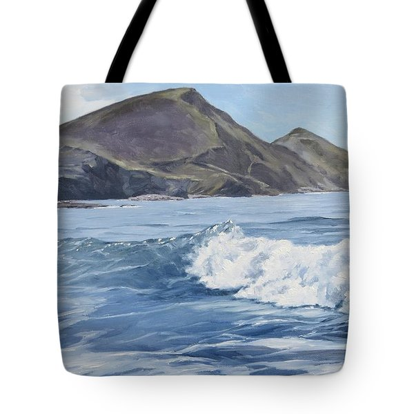 White Wave At Crackington  Tote Bag