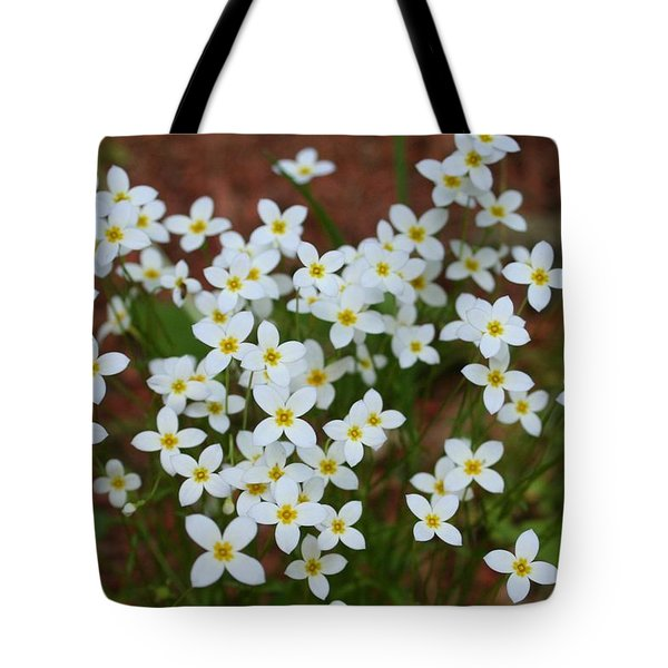 Tote Bag featuring the digital art White Wildflowers by Barbara S Nickerson